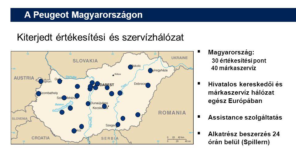 A Peugeot Magyarországon Kiterjedt értékesítési és szervízhálózat  Magyarország: 30 értékesítési pont 40 márkaszervíz  Hivatalos kereskedői és márka