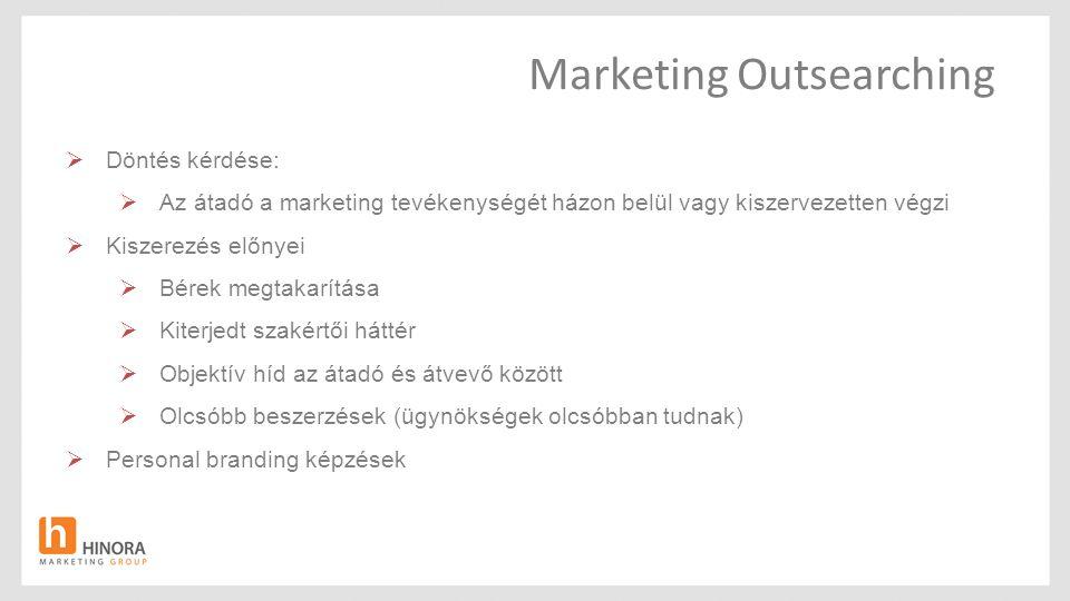 Marketing Outsearching  Döntés kérdése:  Az átadó a marketing tevékenységét házon belül vagy kiszervezetten végzi  Kiszerezés előnyei  Bérek megta