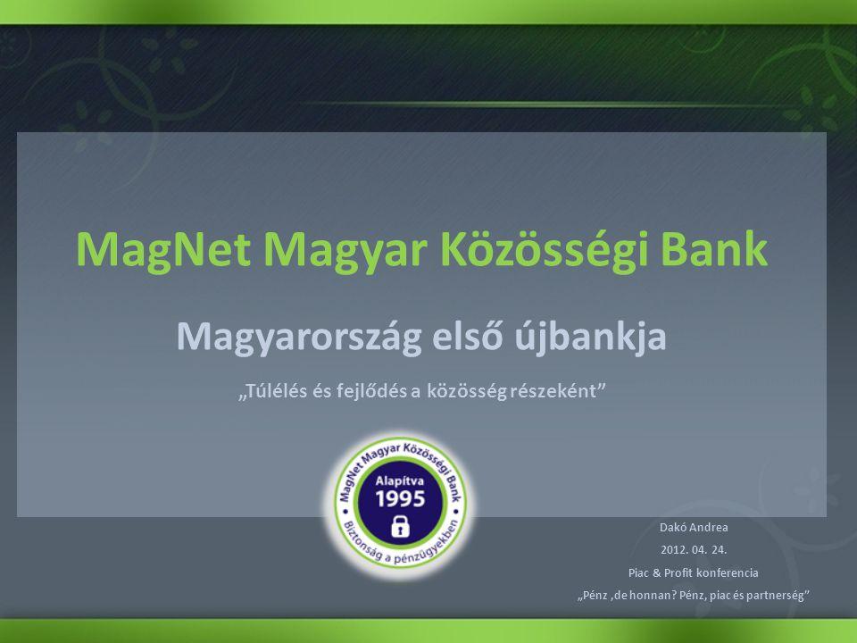 """MagNet Magyar Közösségi Bank Magyarország első újbankja """"Túlélés és fejlődés a közösség részeként Dakó Andrea 2012."""