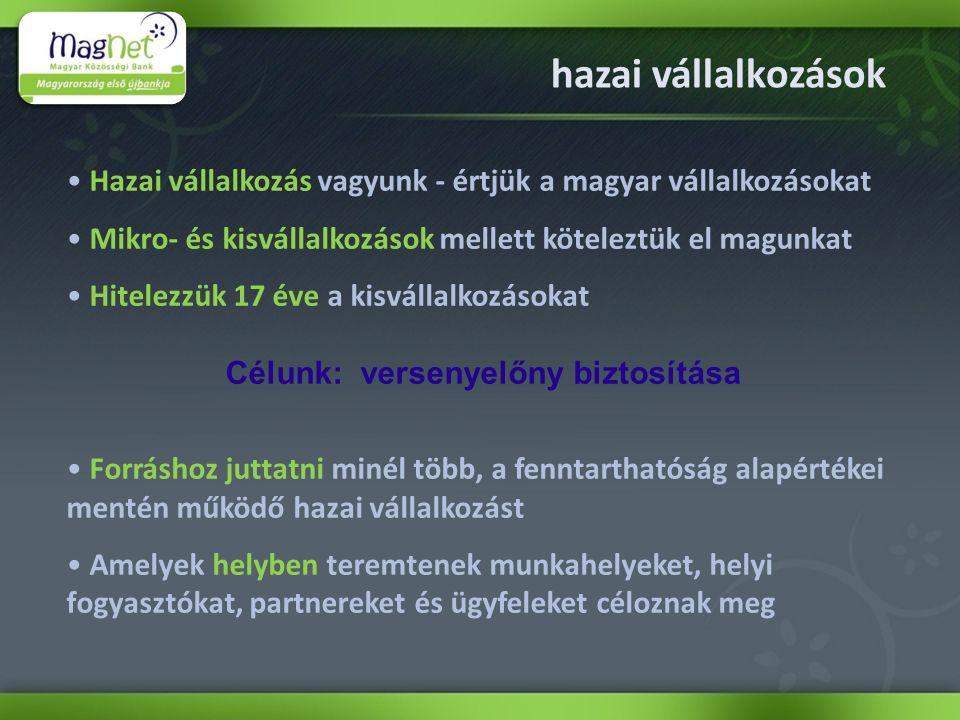 hazai vállalkozások Hazai vállalkozás vagyunk - értjük a magyar vállalkozásokat Mikro- és kisvállalkozások mellett köteleztük el magunkat Hitelezzük 17 éve a kisvállalkozásokat Célunk: versenyelőny biztosítása Forráshoz juttatni minél több, a fenntarthatóság alapértékei mentén működő hazai vállalkozást Amelyek helyben teremtenek munkahelyeket, helyi fogyasztókat, partnereket és ügyfeleket céloznak meg