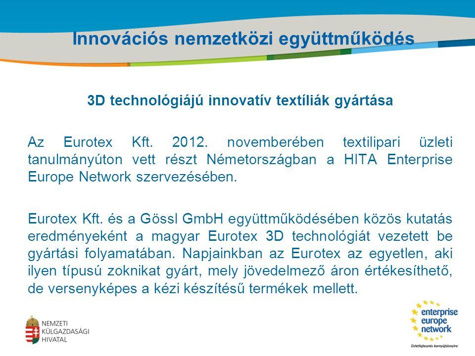Title of the presentation | Date |‹#› Innovációs nemzetközi együttműködés 3D technológiájú innovatív textíliák gyártása Az Eurotex Kft.
