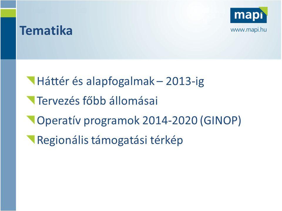 Tematika Háttér és alapfogalmak – 2013-ig Tervezés főbb állomásai Operatív programok 2014-2020 (GINOP) Regionális támogatási térkép