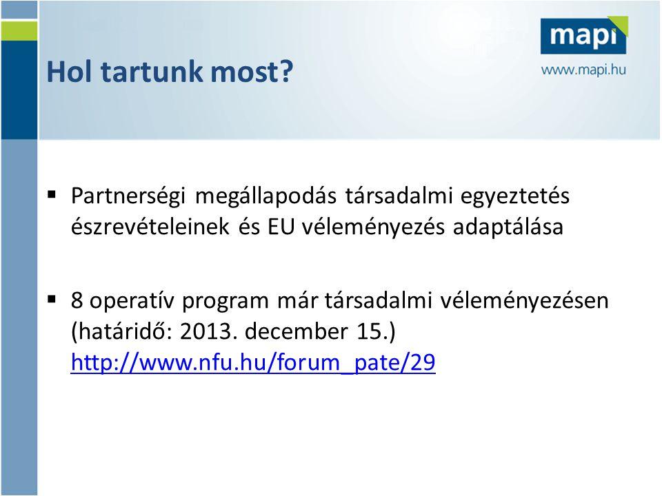 Hol tartunk most?  Partnerségi megállapodás társadalmi egyeztetés észrevételeinek és EU véleményezés adaptálása  8 operatív program már társadalmi v