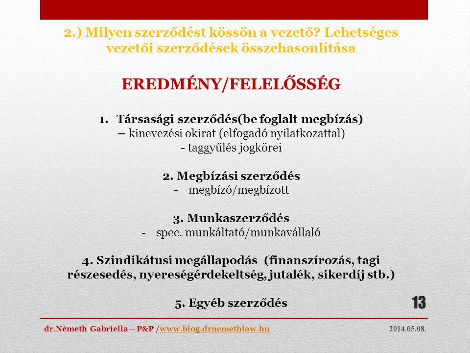 2014.05.08. dr.Németh Gabriella – P&P /www.blog.drnemethlaw.huwww.blog.drnemethlaw.hu 13 2.) Milyen szerződést kössön a vezető? Lehetséges vezetői sze