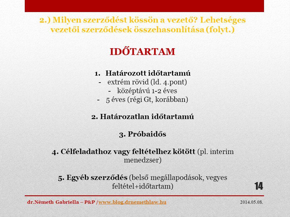 2014.05.08. dr.Németh Gabriella – P&P /www.blog.drnemethlaw.huwww.blog.drnemethlaw.hu 14 2.) Milyen szerződést kössön a vezető? Lehetséges vezetői sze