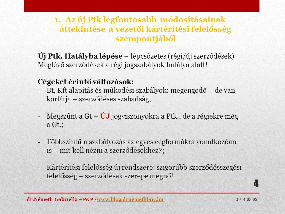 2014.05.08. dr.Németh Gabriella – P&P /www.blog.drnemethlaw.huwww.blog.drnemethlaw.hu 4 1.Az új Ptk legfontosabb módosításainak áttekintése a vezetői