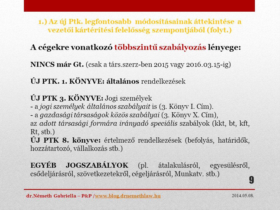 2014.05.08. dr.Németh Gabriella – P&P /www.blog.drnemethlaw.huwww.blog.drnemethlaw.hu 9 1.) Az új Ptk. legfontosabb módosításainak áttekintése a vezet