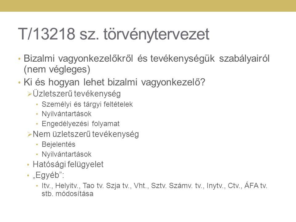 T/13218 sz. törvénytervezet Bizalmi vagyonkezelőkről és tevékenységük szabályairól (nem végleges) Ki és hogyan lehet bizalmi vagyonkezelő?  Üzletszer