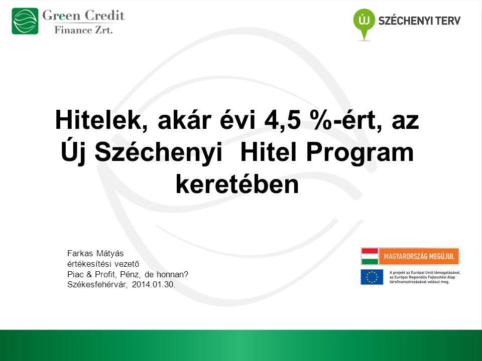 Hitelek, akár évi 4,5 %-ért, az Új Széchenyi Hitel Program keretében Farkas Mátyás értékesítési vezető Piac & Profit, Pénz, de honnan? Székesfehérvár,