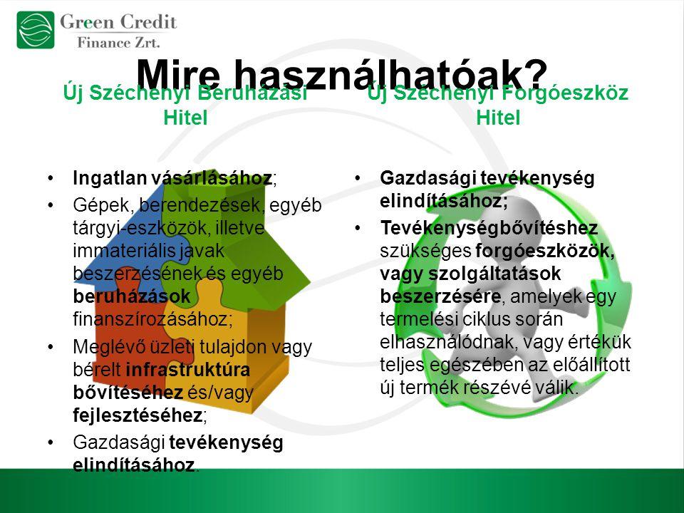 Mire használhatóak? Új Széchenyi Beruházási Hitel Új Széchenyi Forgóeszköz Hitel Ingatlan vásárlásához; Gépek, berendezések, egyéb tárgyi-eszközök, il