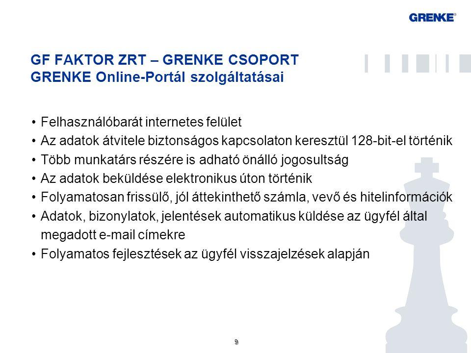 9 9 GF FAKTOR ZRT – GRENKE CSOPORT GRENKE Online-Portál szolgáltatásai Felhasználóbarát internetes felület Az adatok átvitele biztonságos kapcsolaton