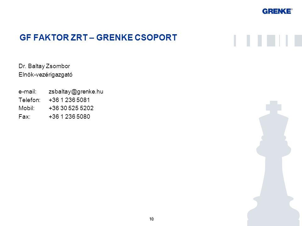 10 GF FAKTOR ZRT – GRENKE CSOPORT Dr. Baltay Zsombor Elnök-vezérigazgató e-mail: zsbaltay@grenke.hu Telefon: +36 1 236 5081 Mobil: +36 30 525 5202 Fax