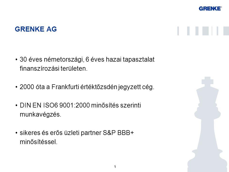 1 1 GRENKE AG 30 éves németországi, 6 éves hazai tapasztalat finanszírozási területen. 2000 óta a Frankfurti értéktőzsdén jegyzett cég. DIN EN ISO6 90
