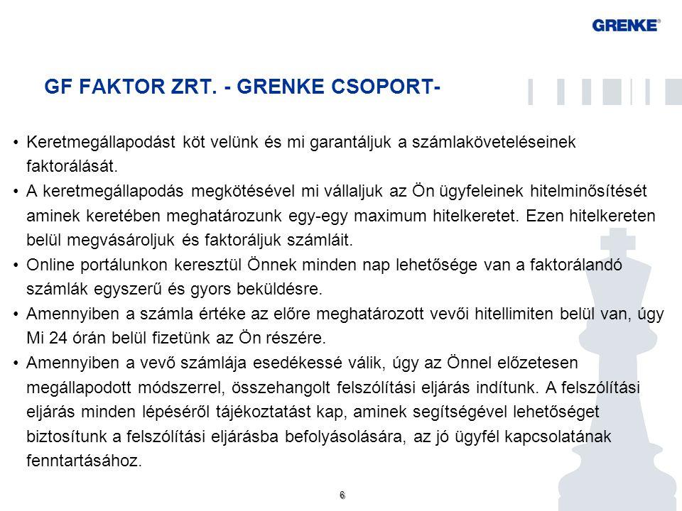 6 6 GF FAKTOR ZRT. - GRENKE CSOPORT- Keretmegállapodást köt velünk és mi garantáljuk a számlaköveteléseinek faktorálását. A keretmegállapodás megkötés