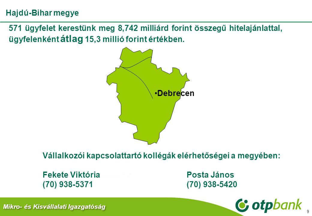 Mikro- és Kisvállalati Igazgatóság 9 571 ügyfelet kerestünk meg 8,742 milliárd forint összegű hitelajánlattal, ügyfelenként átlag 15,3 millió forint értékben.