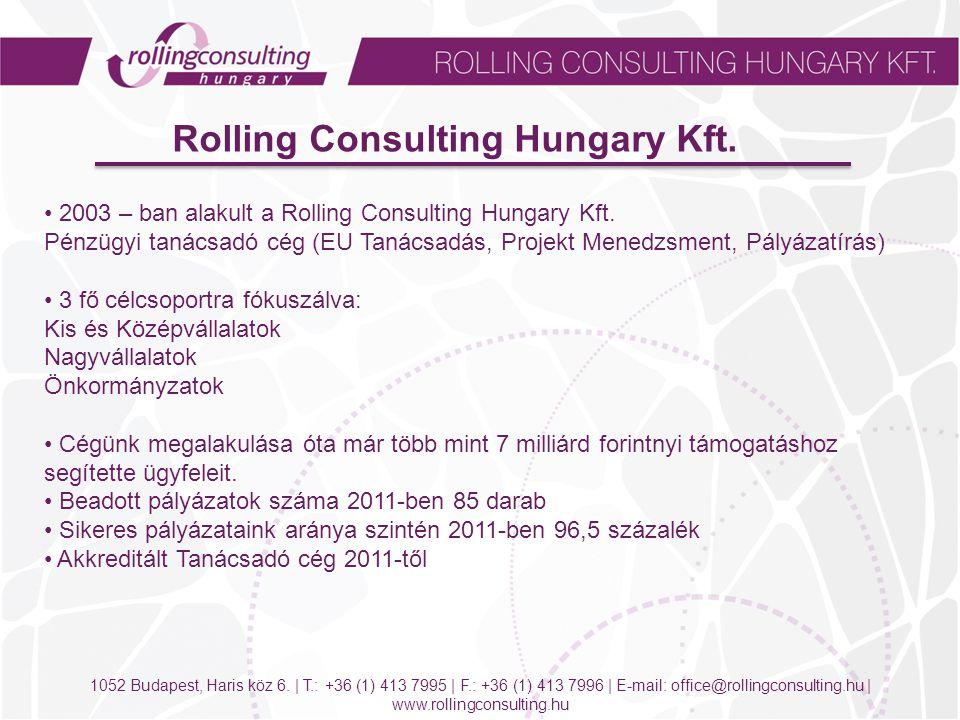 1052 Budapest, Haris köz 6. | T.: +36 (1) 413 7995 | F.: +36 (1) 413 7996 | E-mail: office@rollingconsulting.hu | www.rollingconsulting.hu Rolling Con