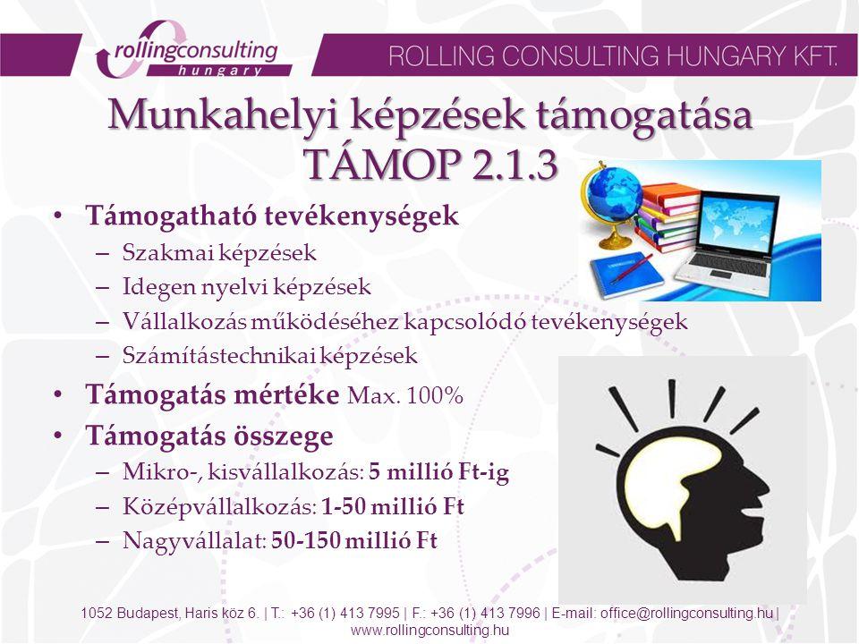 Munkahelyi képzések támogatása TÁMOP 2.1.3 Támogatható tevékenységek – Szakmai képzések – Idegen nyelvi képzések – Vállalkozás működéséhez kapcsolódó