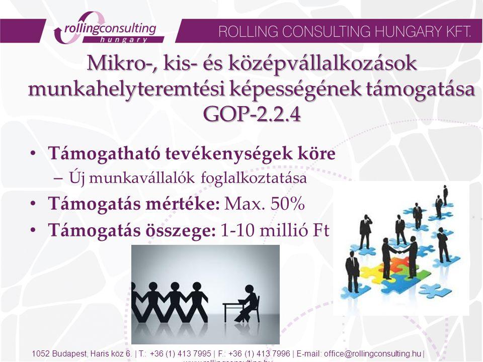 Mikro-, kis- és középvállalkozások munkahelyteremtési képességének támogatása GOP-2.2.4 Mikro-, kis- és középvállalkozások munkahelyteremtési képességének támogatása GOP-2.2.4 Támogatható tevékenységek köre – Új munkavállalók foglalkoztatása Támogatás mértéke: Max.
