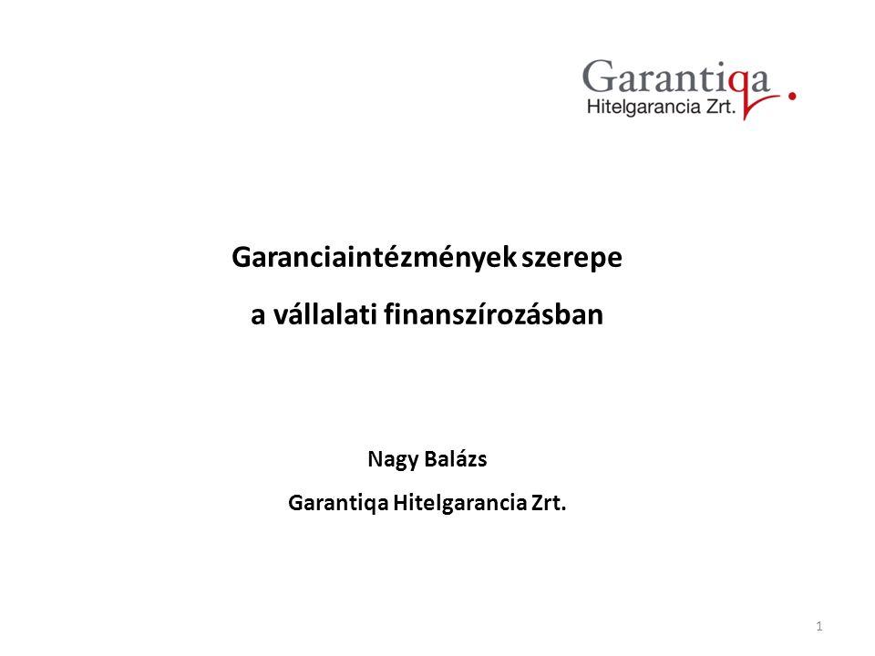 1 Garanciaintézmények szerepe a vállalati finanszírozásban Nagy Balázs Garantiqa Hitelgarancia Zrt.