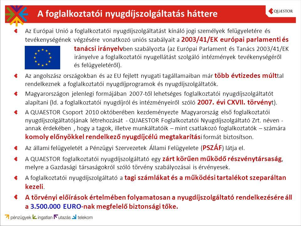 A foglalkoztatói nyugdíjszolgáltatás háttere Az Európai Unió a foglalkoztatói nyugdíjszolgáltatást kínáló jogi személyek felügyeletére és tevékenységének végzésére vonatkozó uniós szabályait a 2003/41/EK európai parlamenti és tanácsi irányelv ben szabályozta (az Európai Parlament és Tanács 2003/41/EK irányelve a foglalkoztatói nyugellátást szolgáló intézmények tevékenységéről és felügyeletéről).