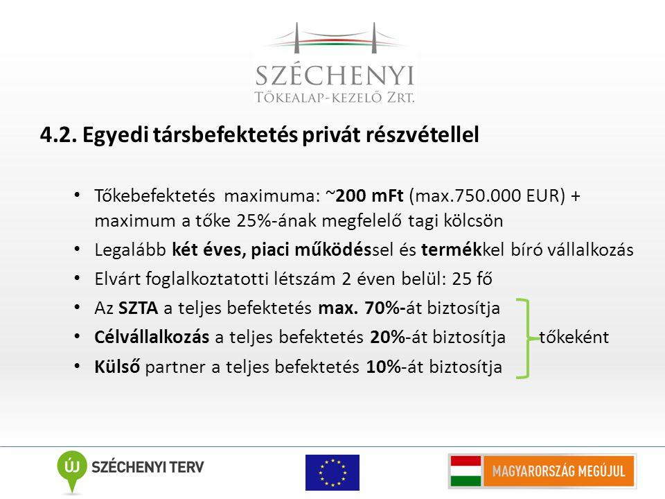 4.2. Egyedi társbefektetés privát részvétellel Tőkebefektetés maximuma: ~200 mFt (max.750.000 EUR) + maximum a tőke 25%-ának megfelelő tagi kölcsön Le