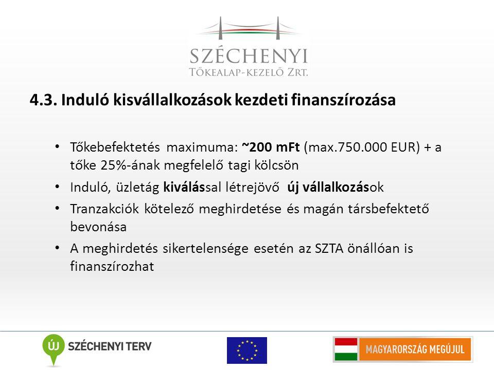 4.3. Induló kisvállalkozások kezdeti finanszírozása Tőkebefektetés maximuma: ~200 mFt (max.750.000 EUR) + a tőke 25%-ának megfelelő tagi kölcsön Indul