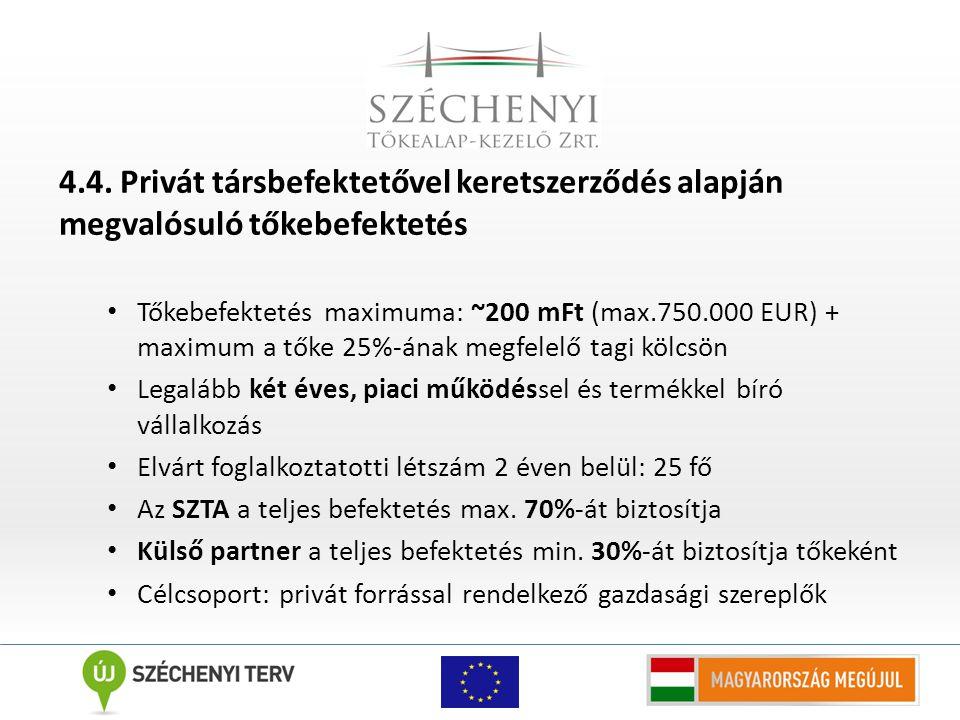4.4. Privát társbefektetővel keretszerződés alapján megvalósuló tőkebefektetés Tőkebefektetés maximuma: ~200 mFt (max.750.000 EUR) + maximum a tőke 25