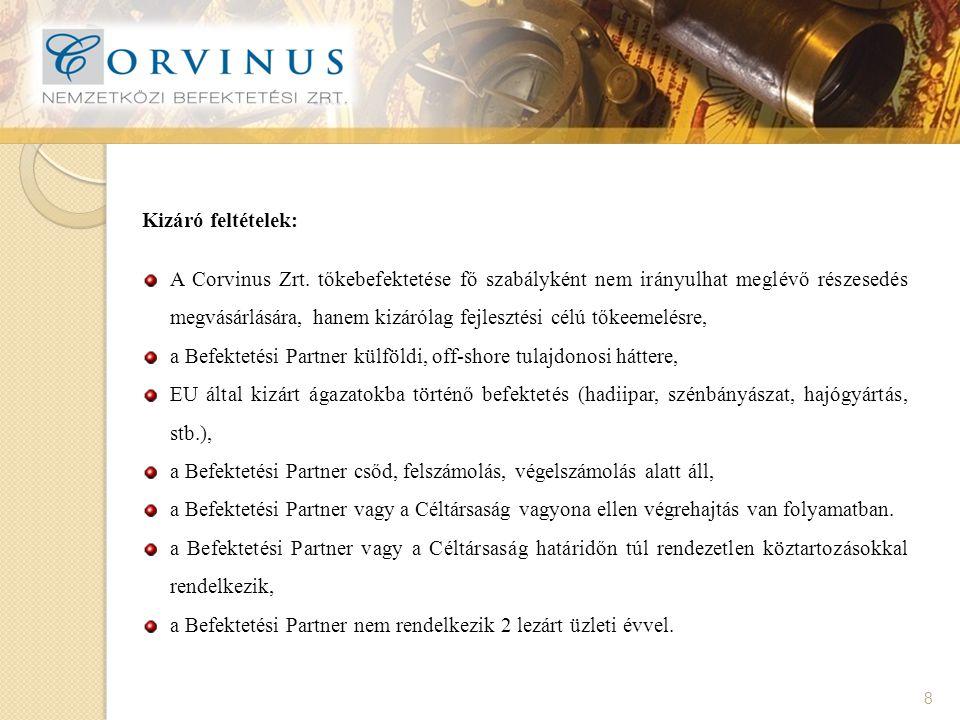 8 Kizáró feltételek: A Corvinus Zrt.