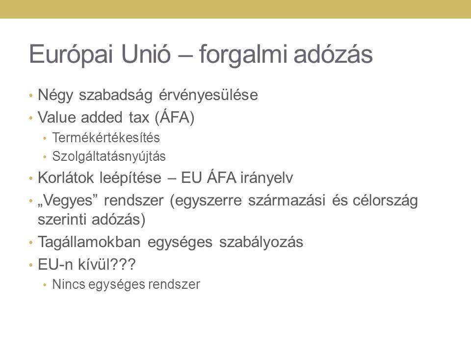 Európai Unió – forgalmi adózás Négy szabadság érvényesülése Value added tax (ÁFA) Termékértékesítés Szolgáltatásnyújtás Korlátok leépítése – EU ÁFA ir