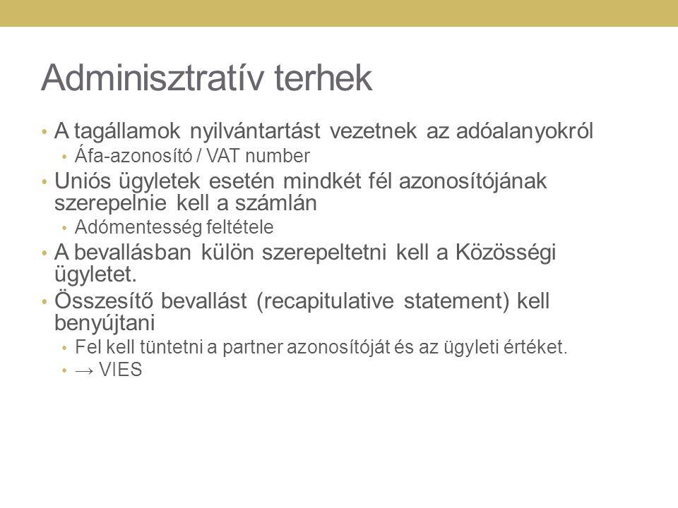Adminisztratív terhek A tagállamok nyilvántartást vezetnek az adóalanyokról Áfa-azonosító / VAT number Uniós ügyletek esetén mindkét fél azonosítójána