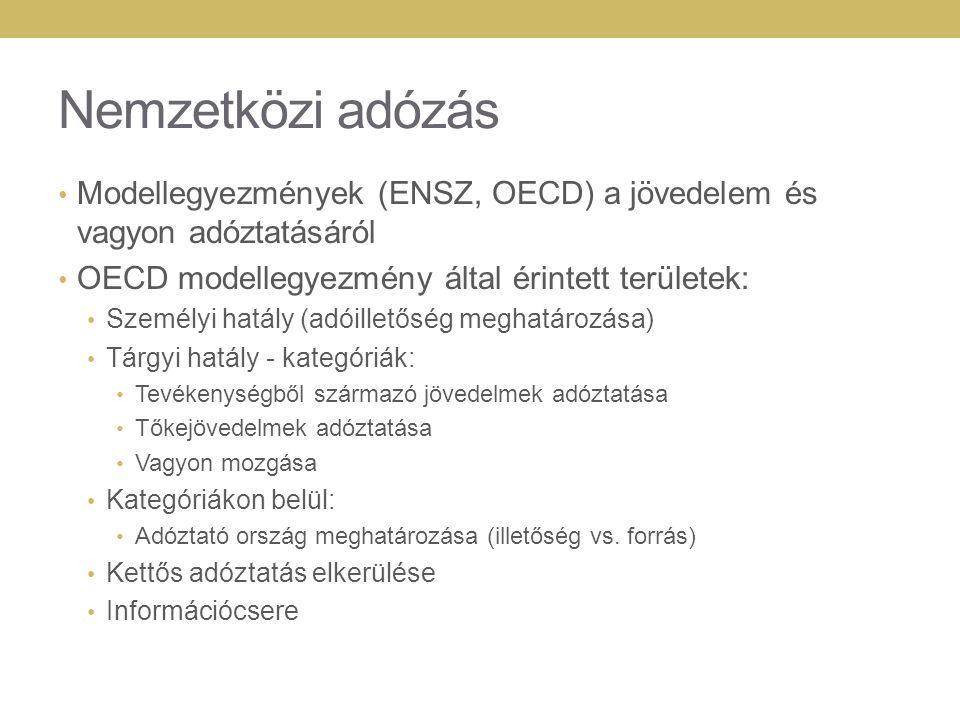 Nemzetközi adózás Modellegyezmények (ENSZ, OECD) a jövedelem és vagyon adóztatásáról OECD modellegyezmény által érintett területek: Személyi hatály (a