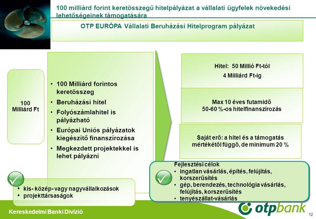 Kereskedelmi Banki Divízió Hitel: 50 Millió Ft-tól 4 Milliárd Ft-ig OTP EURÓPA Vállalati Beruházási Hitelprogram pályázat 100 Milliárd forintos keretö