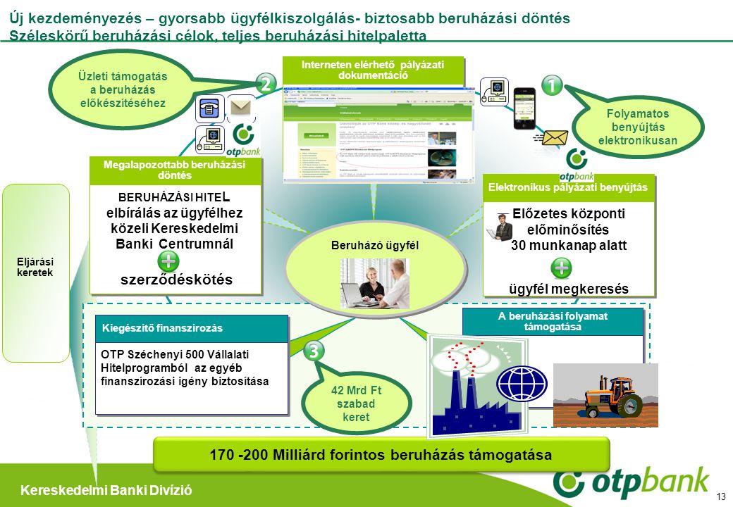 Kereskedelmi Banki Divízió 13 Új kezdeményezés – gyorsabb ügyfélkiszolgálás- biztosabb beruházási döntés Széleskörű beruházási célok, teljes beruházás