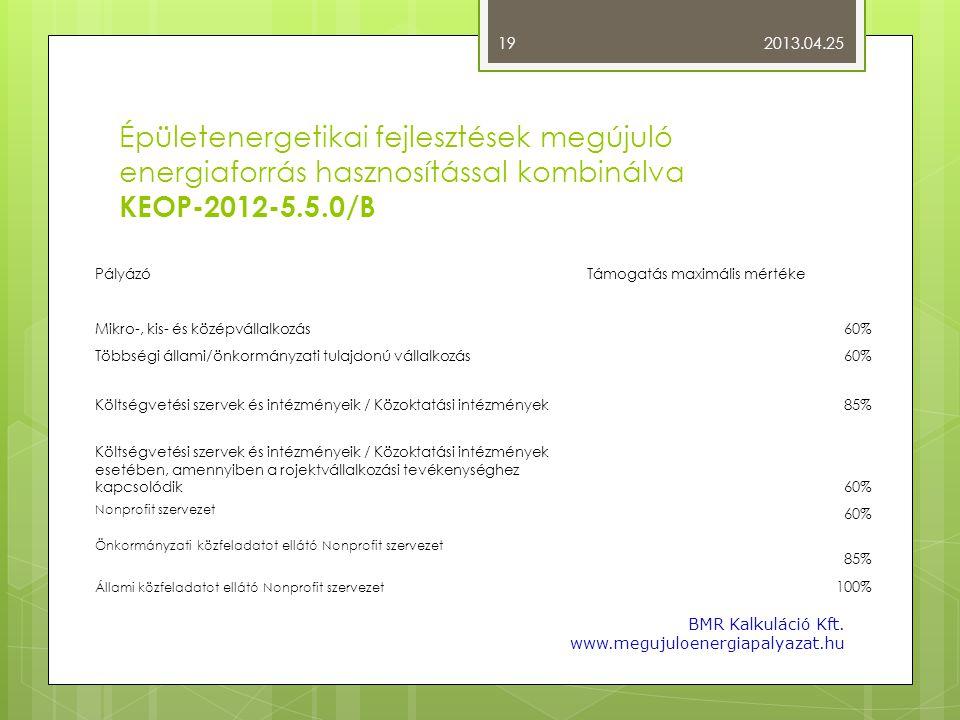 Épületenergetikai fejlesztések megújuló energiaforrás hasznosítással kombinálva KEOP-2012-5.5.0/B PályázóTámogatás maximális mértéke Mikro-, kis- és k