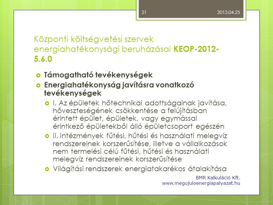 Központi költségvetési szervek energiahatékonysági beruházásai KEOP-2012- 5.6.0  Támogatható tevékenységek  Energiahatékonyság javításra vonatkozó t