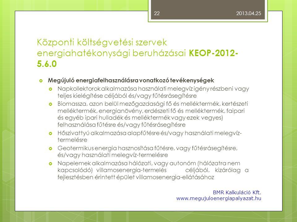 Központi költségvetési szervek energiahatékonysági beruházásai KEOP-2012- 5.6.0  Megújuló energiafelhasználásra vonatkozó tevékenységek  Napkollekto