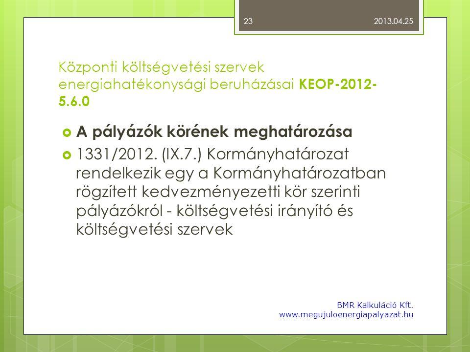 Központi költségvetési szervek energiahatékonysági beruházásai KEOP-2012- 5.6.0  A pályázók körének meghatározása  1331/2012. (IX.7.) Kormányhatároz