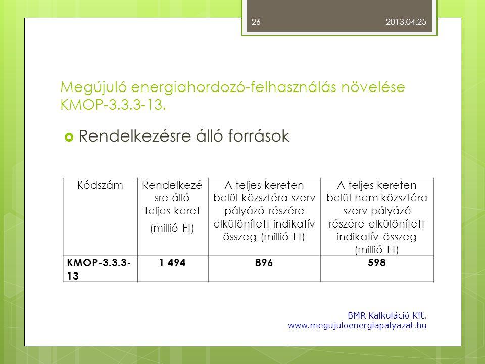 Megújuló energiahordozó-felhasználás növelése KMOP-3.3.3-13.  Rendelkezésre álló források 2013.04.25 BMR Kalkuláció Kft. www.megujuloenergiapalyazat.