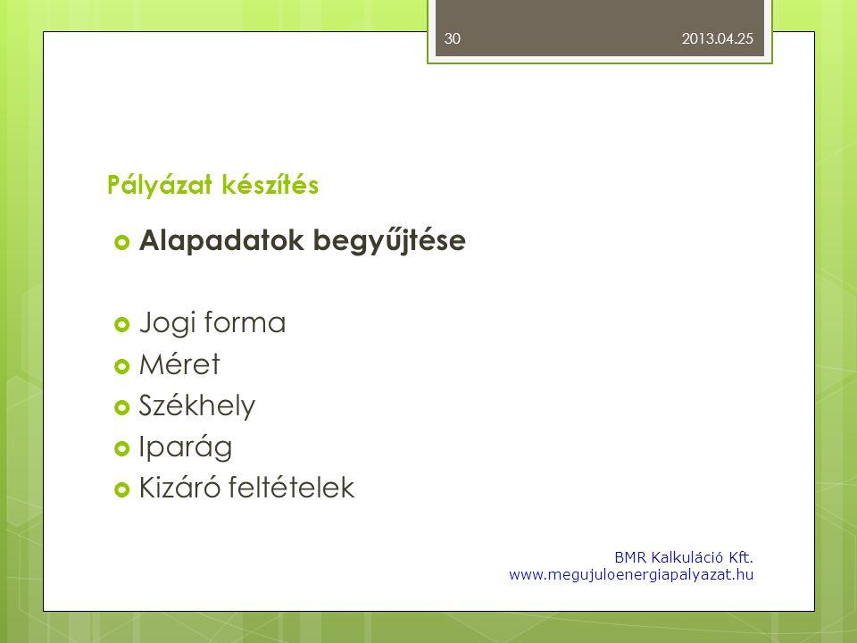 Pályázat készítés  Alapadatok begyűjtése  Jogi forma  Méret  Székhely  Iparág  Kizáró feltételek 2013.04.25 BMR Kalkuláció Kft. www.megujuloener