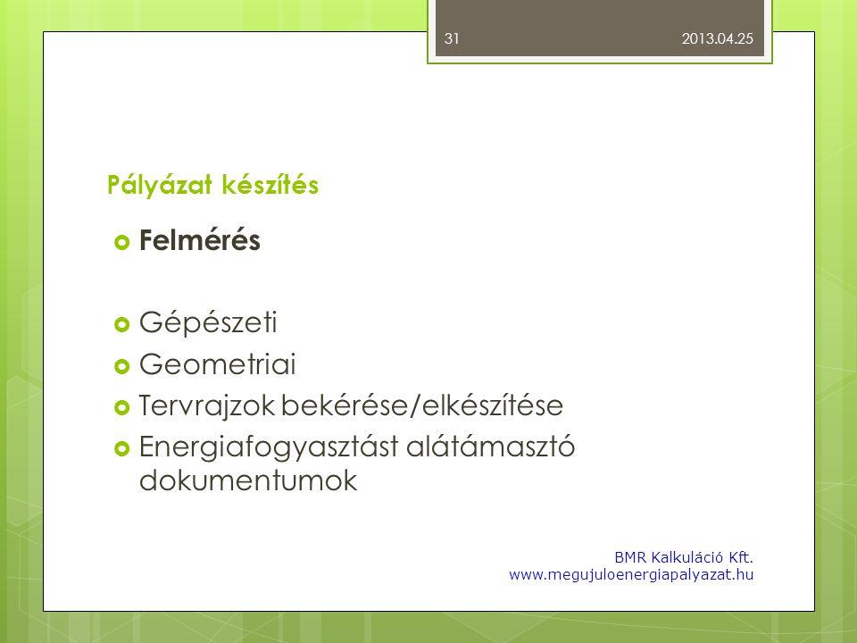 Pályázat készítés  Felmérés  Gépészeti  Geometriai  Tervrajzok bekérése/elkészítése  Energiafogyasztást alátámasztó dokumentumok 2013.04.25 BMR K