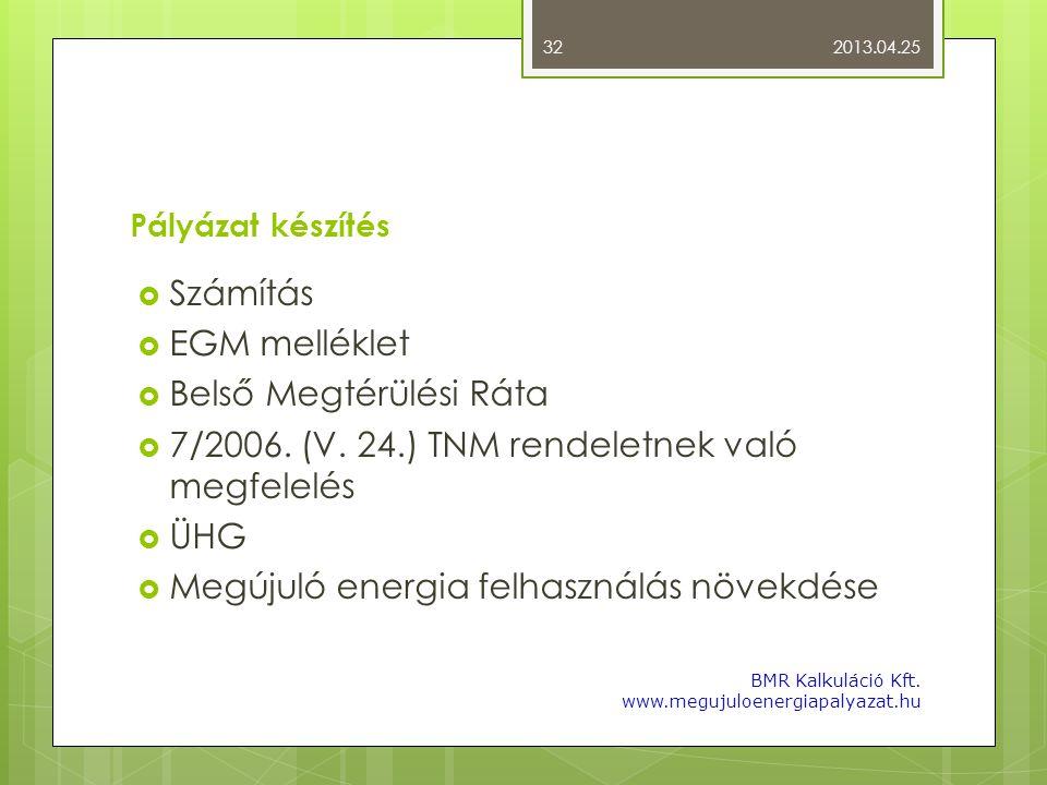 Pályázat készítés  Számítás  EGM melléklet  Belső Megtérülési Ráta  7/2006. (V. 24.) TNM rendeletnek való megfelelés  ÜHG  Megújuló energia felh