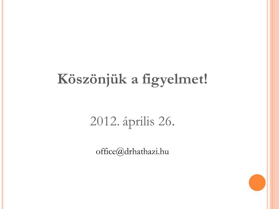 Köszönjük a figyelmet! 2012. április 26. office@drhathazi.hu