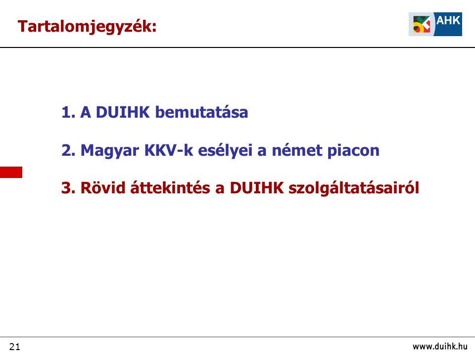 21 1. A DUIHK bemutatása 2. Magyar KKV-k esélyei a német piacon 3. Rövid áttekintés a DUIHK szolgáltatásairól Tartalomjegyzék: