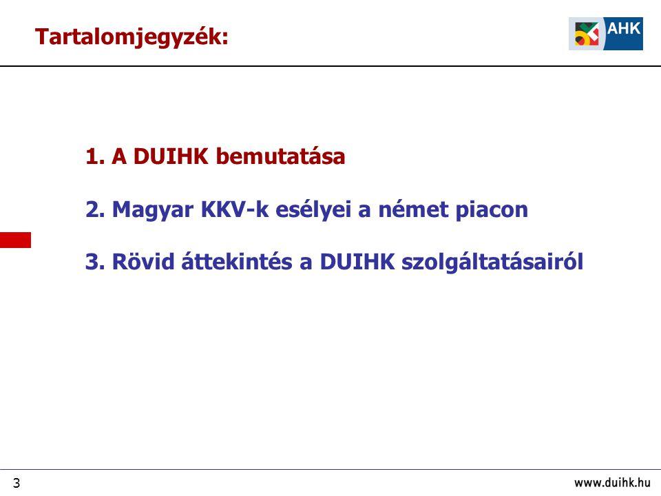 3 1. A DUIHK bemutatása 2. Magyar KKV-k esélyei a német piacon 3. Rövid áttekintés a DUIHK szolgáltatásairól Tartalomjegyzék: