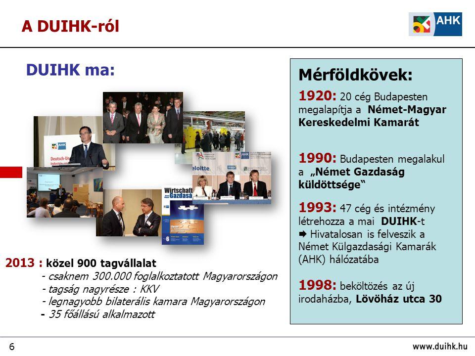 7 Célunk: sikeres üzleti kapcsolatokat kiépíteni… Kamarai tagsági ügyek  érdekképviselet  kapcsolatépítés  tapasztalatcsere Üzletfejlesztési szolgáltatások  piaci információk  szakszer ű tanácsadás  objektív tájékoztatás Kétoldalú gazdasági kapcsolatok elősegítése  párbeszéd a gazdaságpolitikai környezet javításáért  német tartományok hivatalos képviselete  német vásárok hivatalos képviselete  A Német Turisztikai Hivatal képviselete A DUIHK-ról … mint non-profit-szervezet