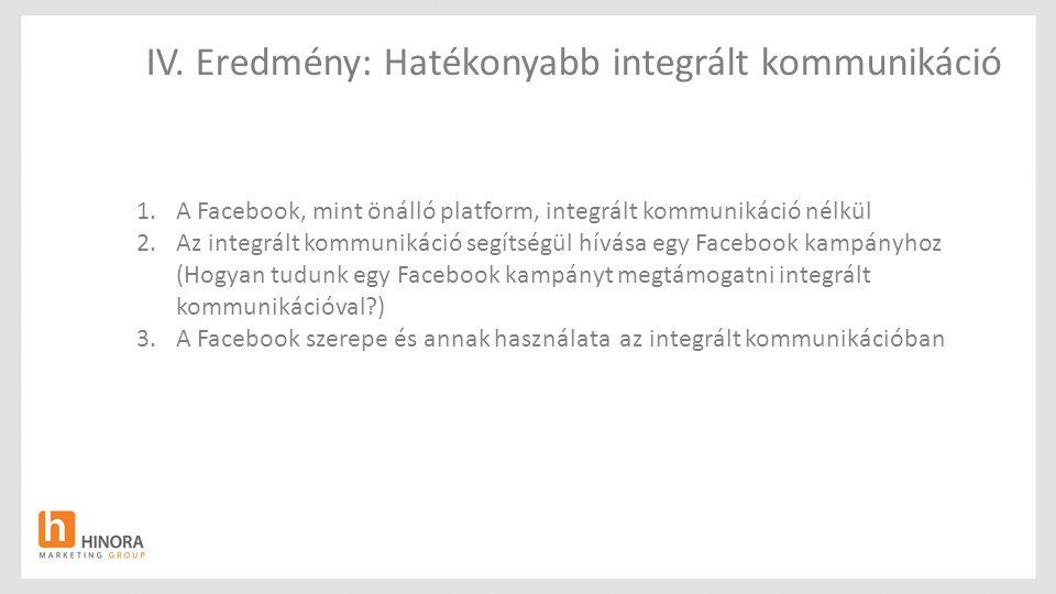 IV. Eredmény: Hatékonyabb integrált kommunikáció 1.A Facebook, mint önálló platform, integrált kommunikáció nélkül 2.Az integrált kommunikáció segítsé