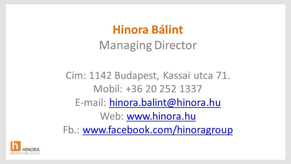 Hinora Bálint Managing Director Cím: 1142 Budapest, Kassai utca 71.