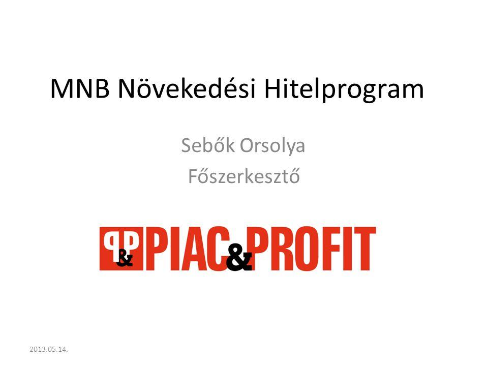 A hitelprogram célja A kkv-k hitelezésének monetáris politikai eszközökkel való élénkítése Olyan projektek beindítása, amelyek eddig a magas finanszírozási költségek miatt szunnyadtak Hitellel rendelkezők finanszírozási költségeinek csökkentése 2013.05.14.
