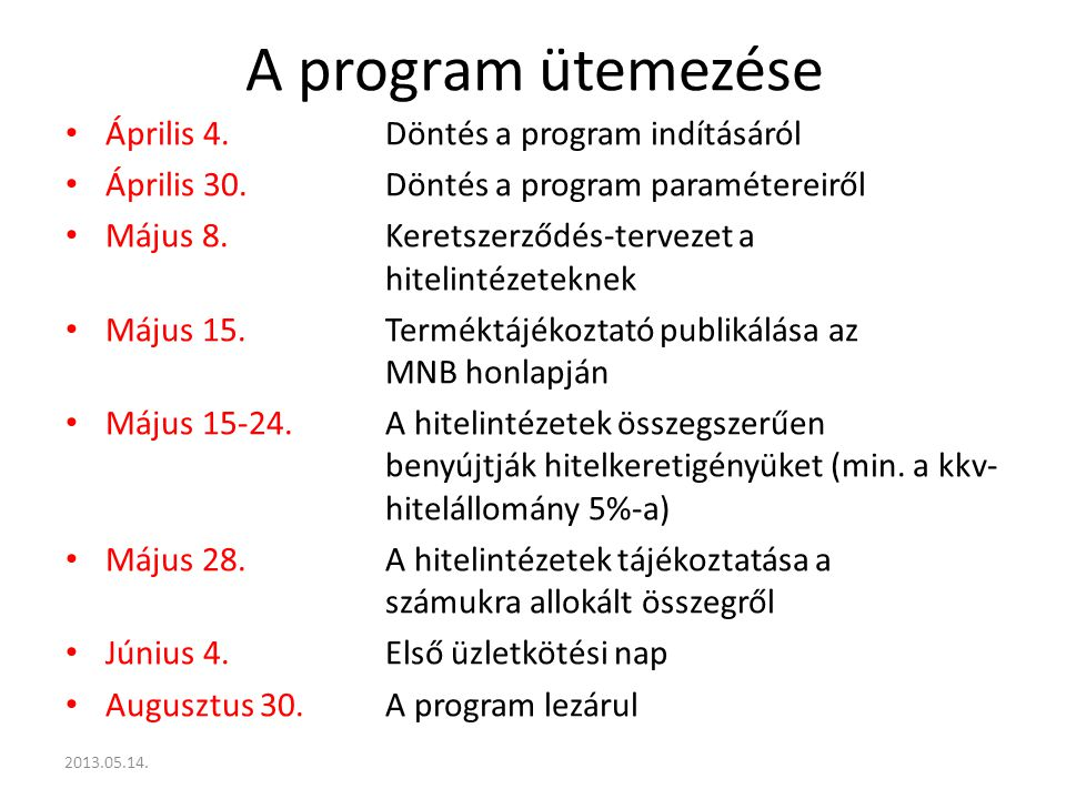 A program ütemezése Április 4.Döntés a program indításáról Április 30.Döntés a program paramétereiről Május 8.