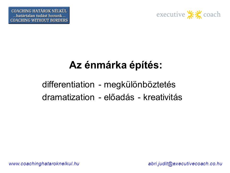 Az énmárka építés: differentiation - megkülönböztetés dramatization - előadás - kreativitás www.coachinghataroknelkul.huabri.judit@executivecoach.co.hu
